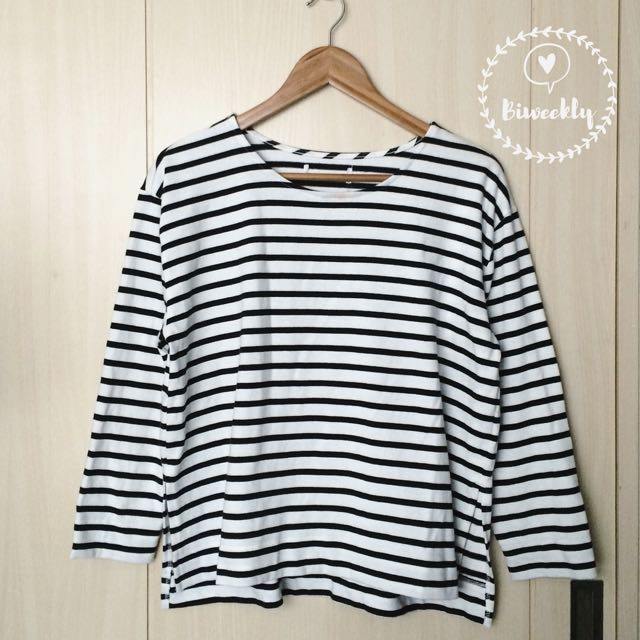 Unbranded Black and White Stripes Pullover