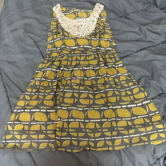 Yellow Gray Dress