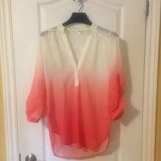 Designer Ombré Blouse White To Peach (medium)