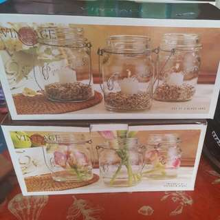 Vintage Glass Jars - 3 Jars In Each Box $5 Each Box Or $20 for All 4 Boxes