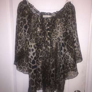Leopard See Thru Bell-sleeve Top