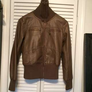 Australian Size 10 Brown Faux Leather Coat