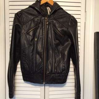 Australian Size 8 Black Faux Leather Bomber