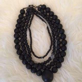 4 String Black Brad Necklace