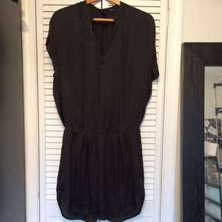 H&M Black Silk Dress Size 10