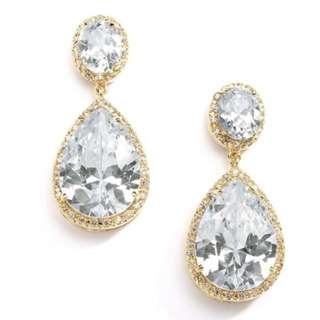 Tear drop Gold Plated 18K Cubic Zirconia Earrings