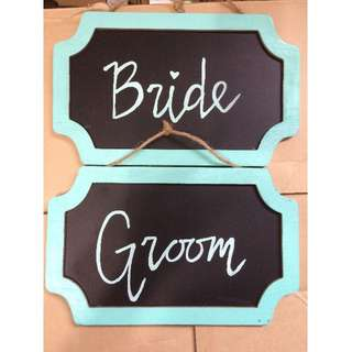 Groom and Bride signs (wedding)