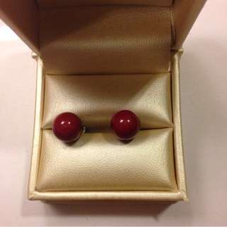 Red Sphere Studs By Betsey Johnson