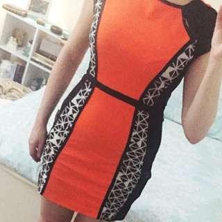 Orange Body Con Dress