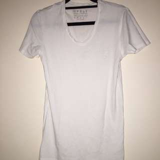 Men's Guess White Tight Vneck Tee