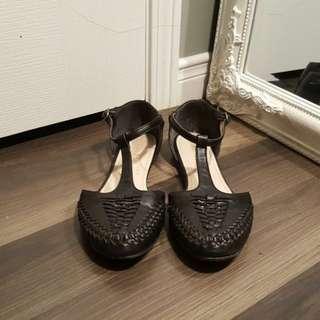 Black T-strap Flat
