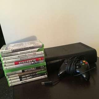xbox 360, 12 games. 250 GB