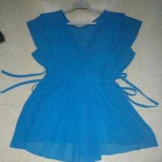 Turquoise Sleeveless Chiffon Shirt