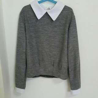 peter pan collar grey pullover