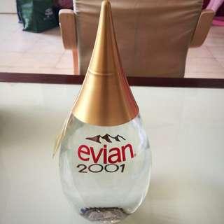 Evian 2001 Special Edition Teardrop Glass Water Bottle