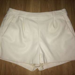 White Leather Look Shorts