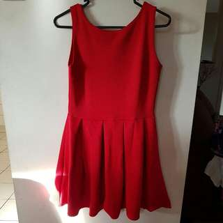 Pleated Red Dress