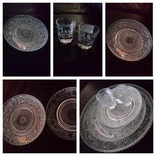 Glass Plates And Shot Glasses