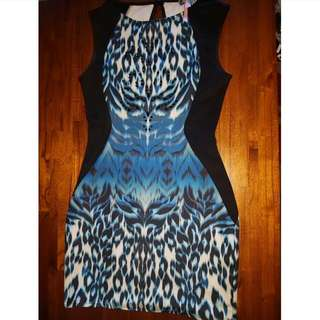 Lipsy London Blue And Black Fitted Dress