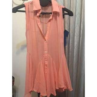 背心橘粉洋裝