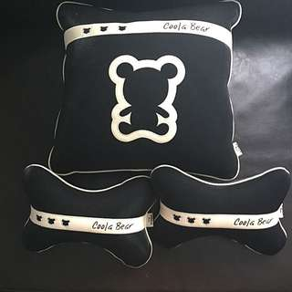 Black Bear Pillow And 2 Neck Rest pillows