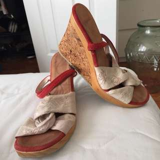 Emporio Armani - Suede , Linen Wooden And Corkscrew Heel Wedges