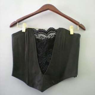 50%off Vintage handmade black leather and lace bustier