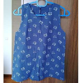 Blue with cats sleeveless top
