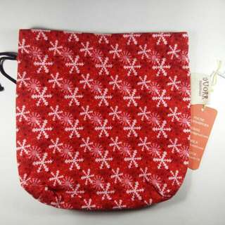 Tas kecil wanita bahan katun jepang warna merah model serut