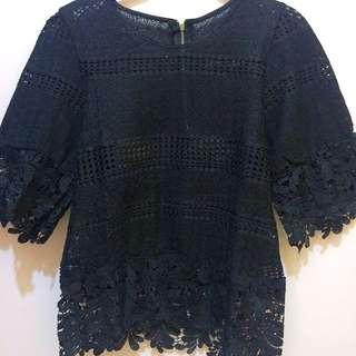 (含運)黑色後拉鍊蕾絲外搭上衣