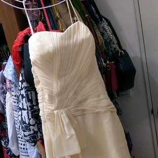 鵝黃平口小禮服