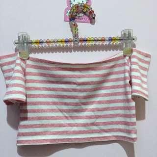 (含運)一字領露肩平口短版粉紅色白色橫條紋短袖上衣