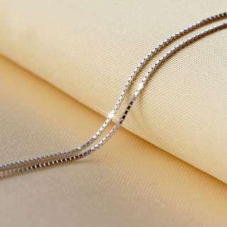 S925純銀方塊盒子項鍊鎖骨鍊