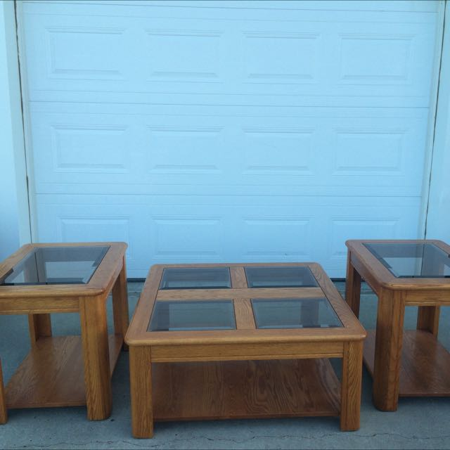 3 Pice Oak Coffee Table Set