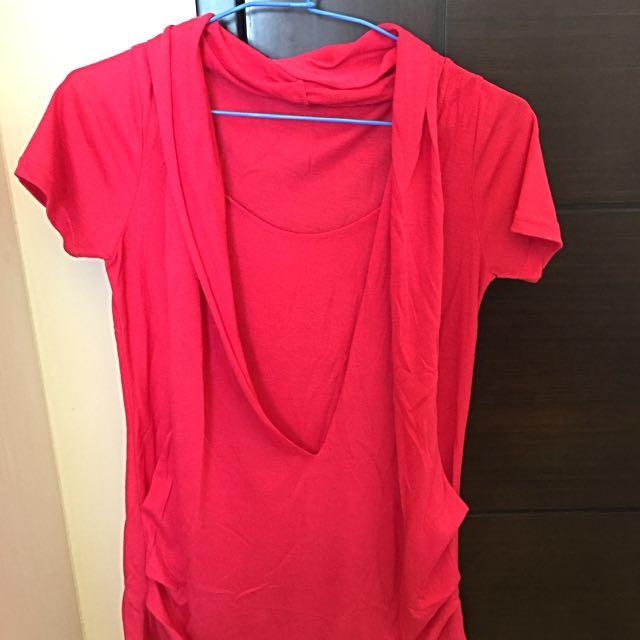 桃紅色造型短袖長上衣