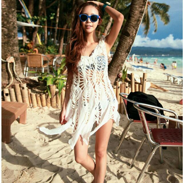 💞現貨剩1件+免運💖韓系 沙灘時尚 流蘇飄逸簍空性感比基尼罩衫