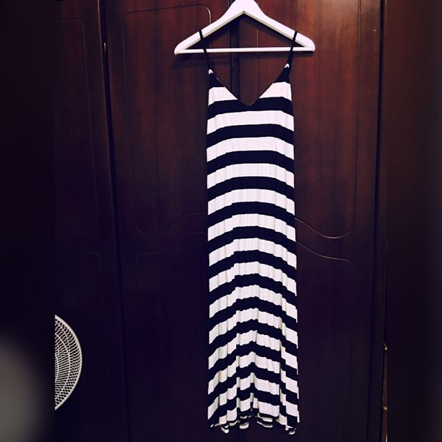 長裙 長洋裝 棉 條紋