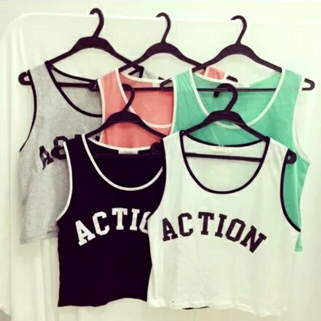 (全新)Action字母背心 白色
