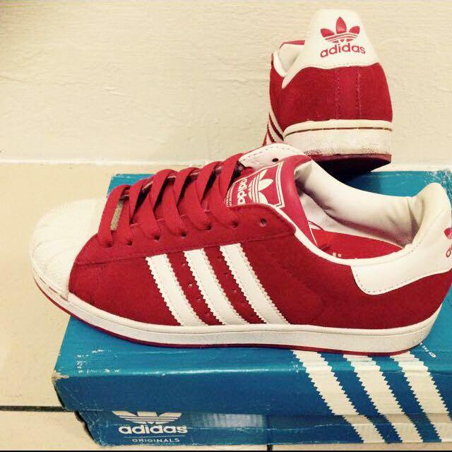 正品Adidas愛迪達紅色休閒鞋