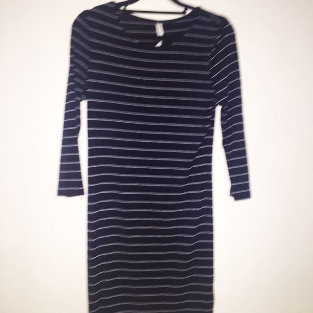 All About Eve Body Con Navy Stripe Dress