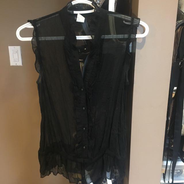 Black Chiffon Cut Sleeve Top