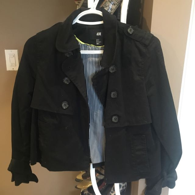 Black Cropped Trench H&M