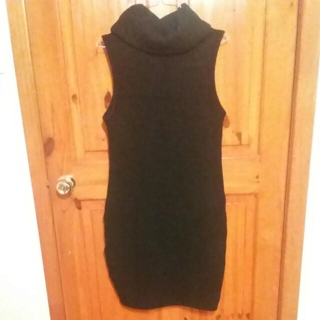 Black Temt Turtle Neck Knit Dress