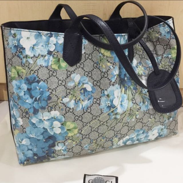 e806224990a Brand New Blue Floral Blooms Leather Turnaround Reversible Tote. Not ...