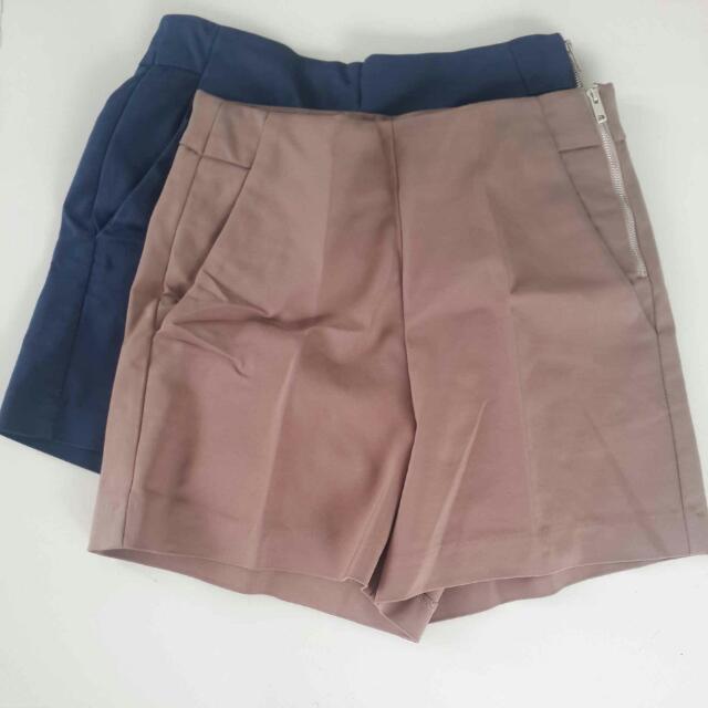 Brown And Blue High-waist Shorts