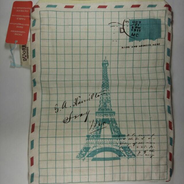 Dompet lipat wanita motif menara eifel warna krem bahan katun jepang