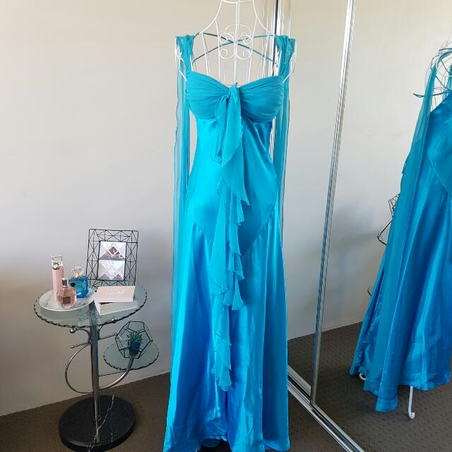 Intangible Blue Turquoise Formal Ball Gown Dress