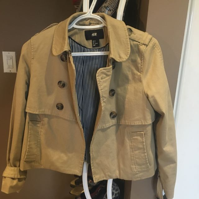 Khaki Trench Cropped Coat From H&M