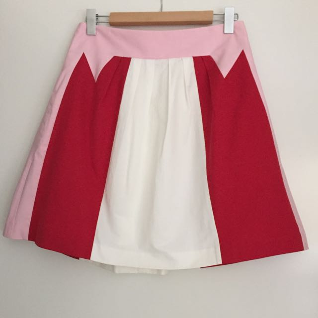 Ladies Cue A-Line Pink Red White Skirt Size 10