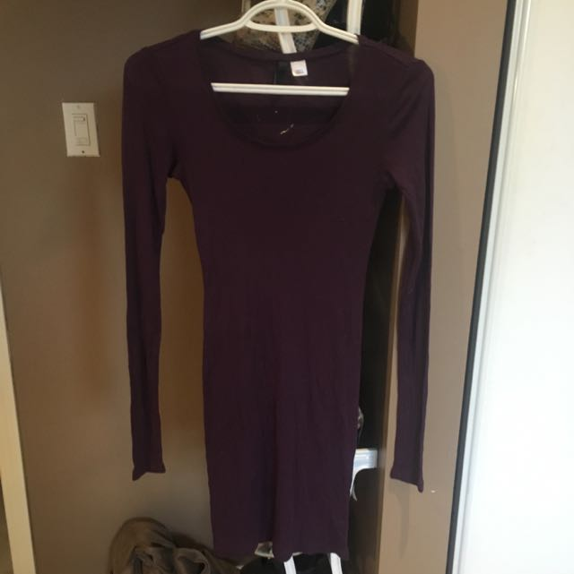 Long Sleeve Purple Dress H&m